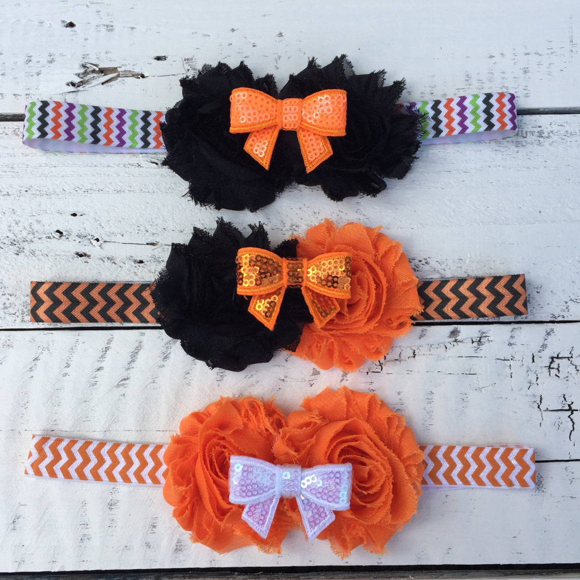 Halloween Headband - Shabby Flower - Sequin Bow - Chevron, Polka Dot Elastic