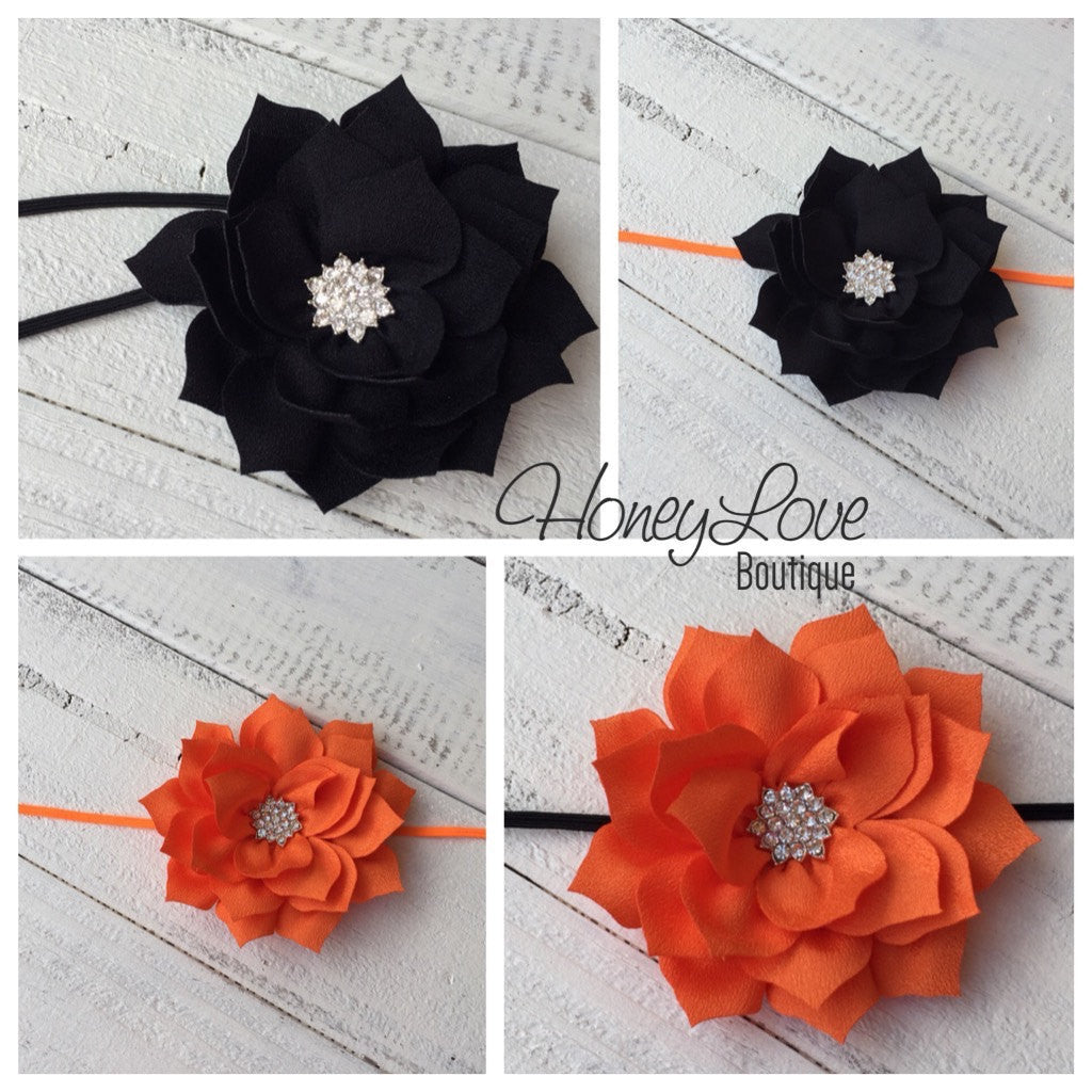 Halloween Headband - Orange and Black - Rhinestone Lotus Flower - HoneyLoveBoutique