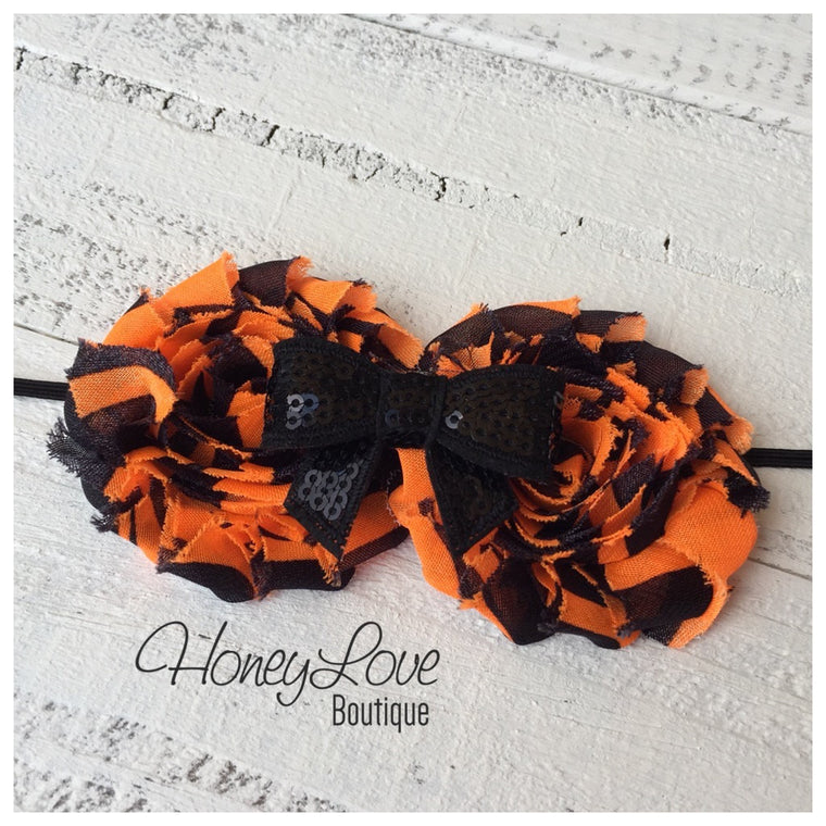 Halloween Headband - Double Shabby Flower - Sequin Bow - Skinny Elastic - little girls, newborn, infant, toddler, baby - HoneyLoveBoutique