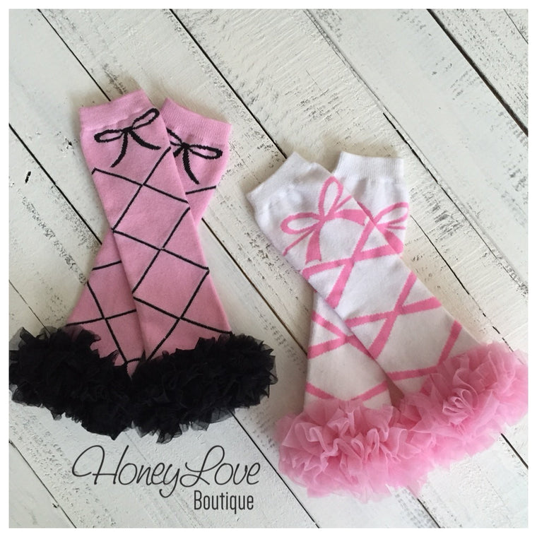 Ballet Leg Warmers with ruffles - Ballerina legwarmers - dance - pink black white - baby girl, infant, toddler, little girl - photo prop - HoneyLoveBoutique
