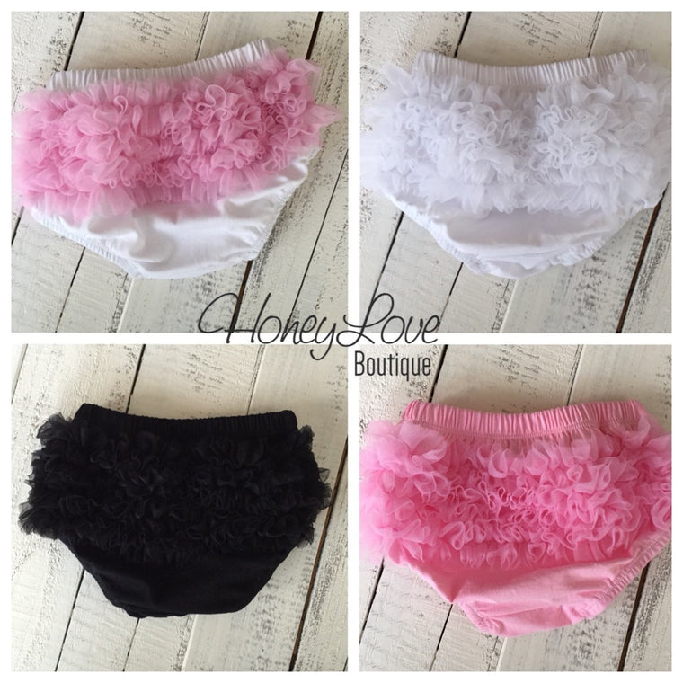 Ruffle Bottom Bloomers - pink white black - HoneyLoveBoutique