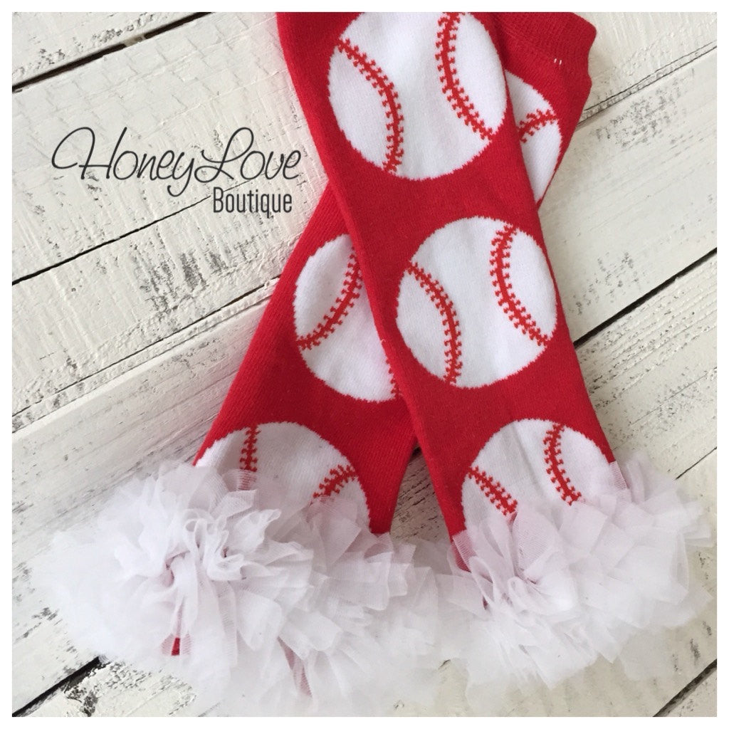 Baseball Softball leg warmers with ruffle - red white - legwarmers - stockings - leggings - baseball sister - softball girl - infant toddler - HoneyLoveBoutique