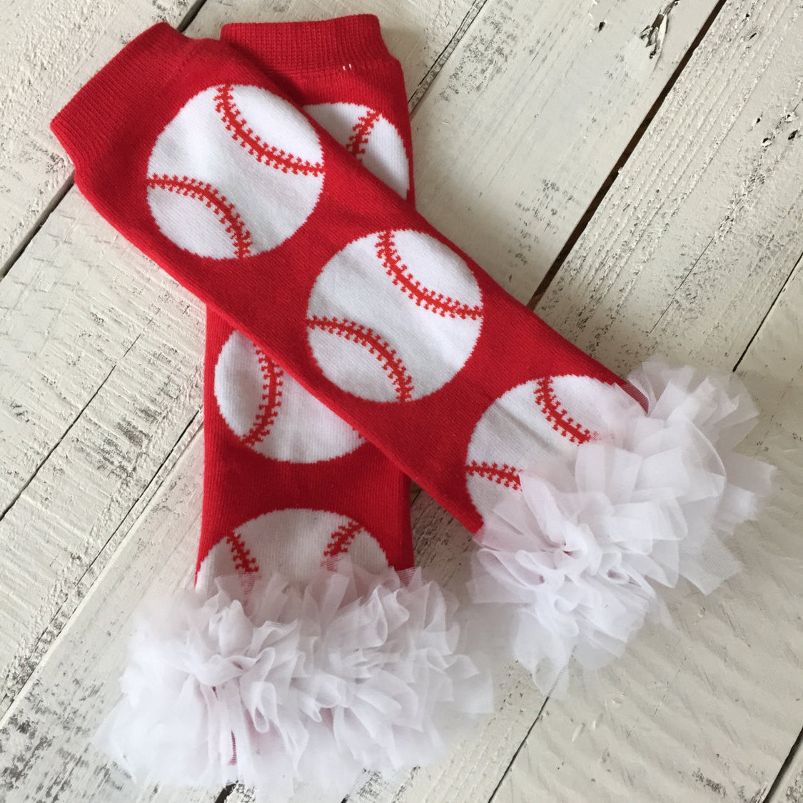 Leg Warmers - Baseball/Softball with or without white ruffle - HoneyLoveBoutique