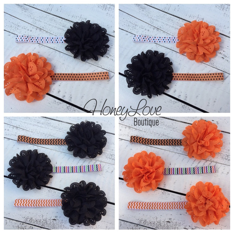 Halloween Headband - Eyelet Lace Flower - choose elastic!