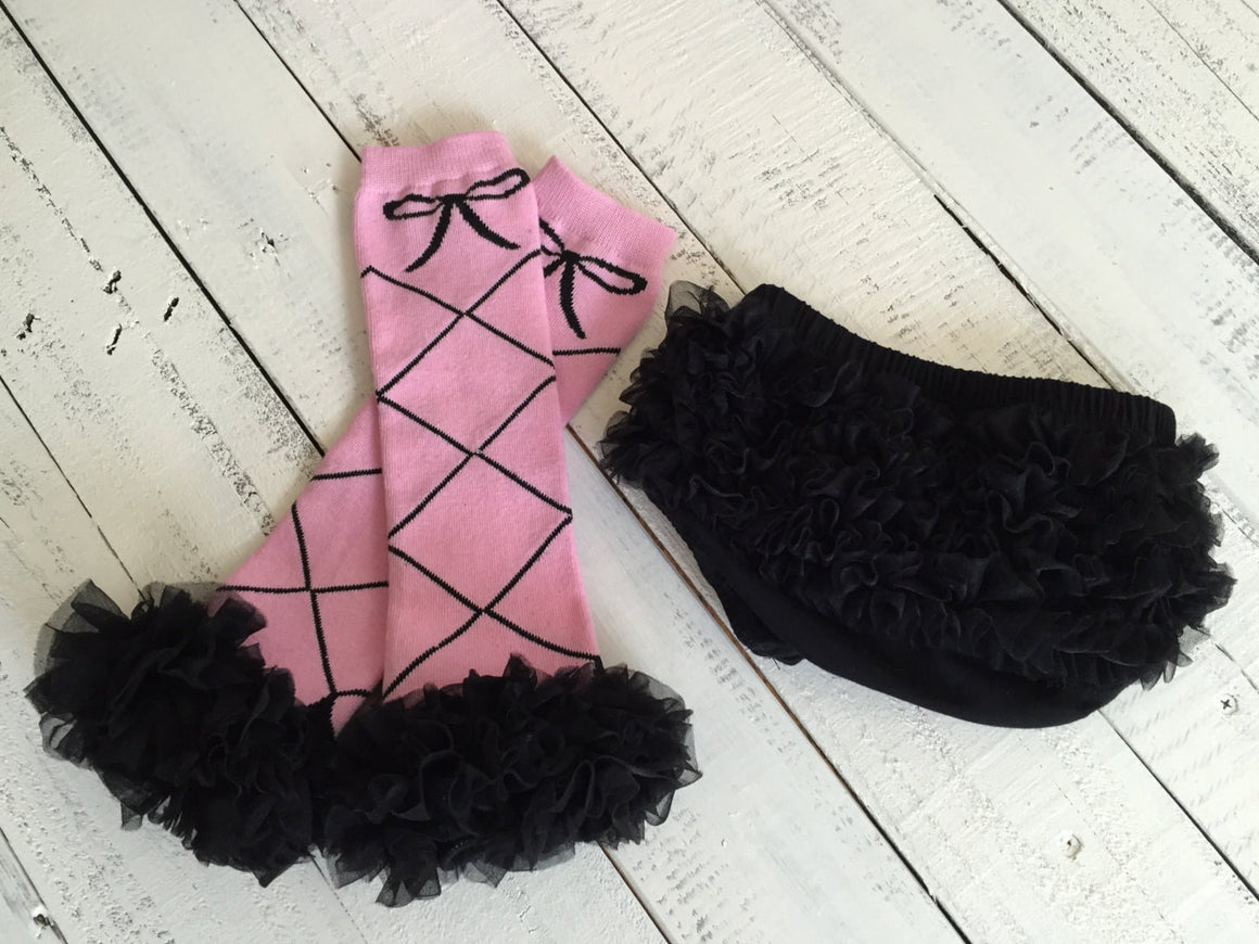 Leg Warmers - Ballerina - White, Pink and Black - HoneyLoveBoutique