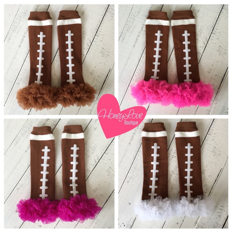 Football Leg Warmers with ruffle - Brown, White, Pink, Magenta/Plum