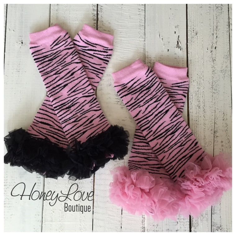 Pink and Black Zebra Leg Warmer - HoneyLoveBoutique