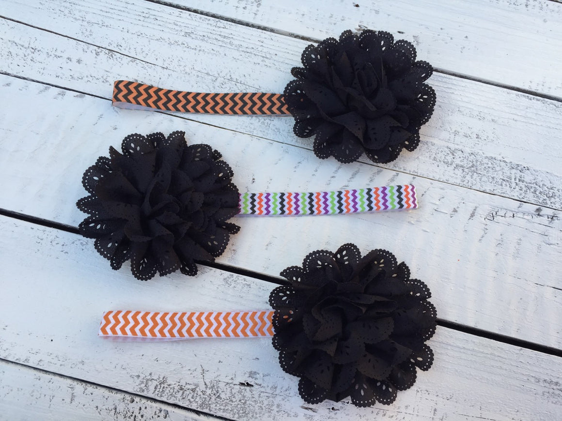 Halloween Headband - Eyelet Lace Flower - choose elastic! - HoneyLoveBoutique
