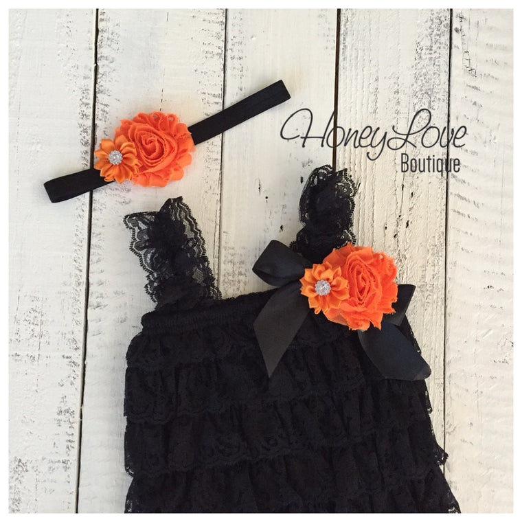 Lace Embellished Petti Romper & Headband - HoneyLoveBoutique