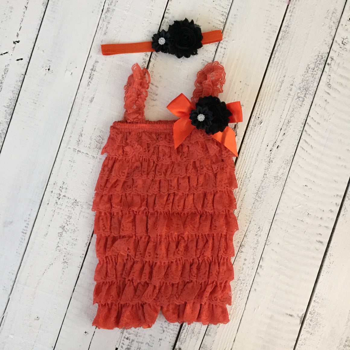 Lace Embellished Orange Petti Romper & Headband