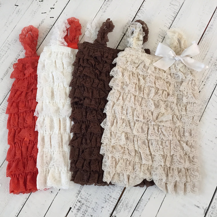 Lace Petti Romper - Orange Ivory Brown Champagne