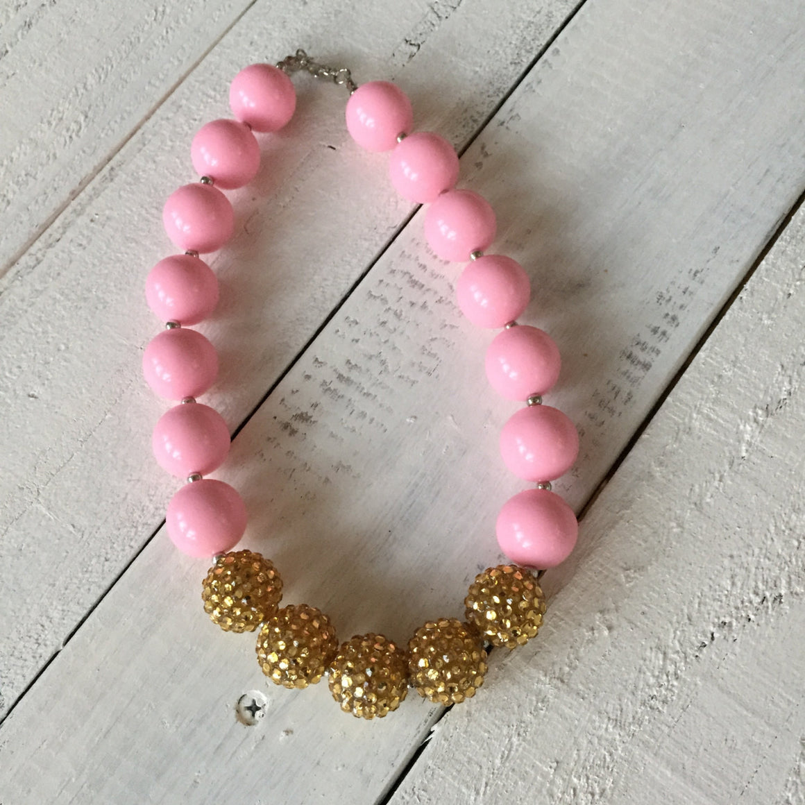 SALE!! Chunky Beaded Necklace - Gold and Pink, White or Blue - HoneyLoveBoutique