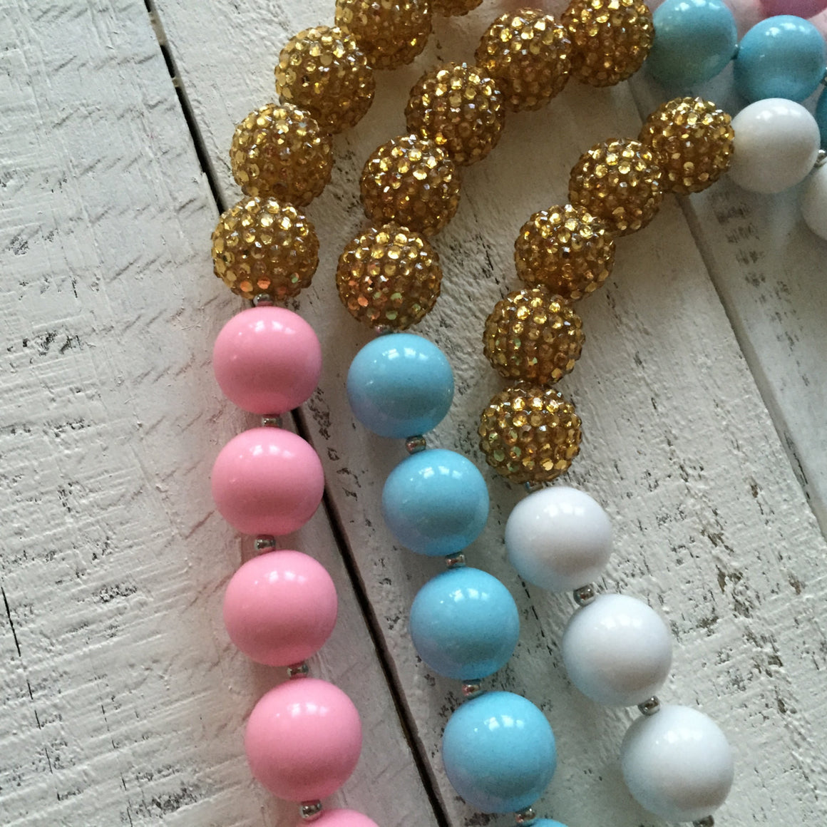 Chunky Beaded Necklace - Gold and Pink, White or Blue