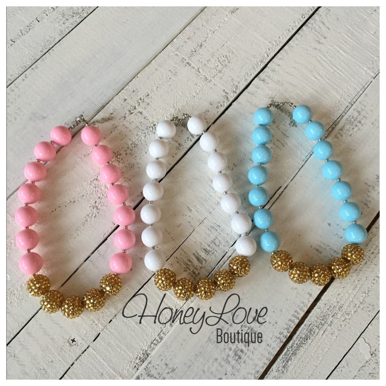 Bubblegum Necklace, Chunky Necklace, Girls Jewelry, Chunky Bead Necklace, Girls Necklace, Little Girl Necklace, Sparkly Gold Pink White Blue - HoneyLoveBoutique