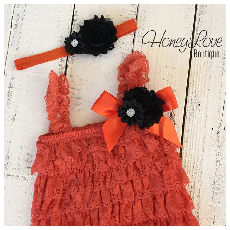 Lace Embellished Orange Petti Romper & Headband - HoneyLoveBoutique