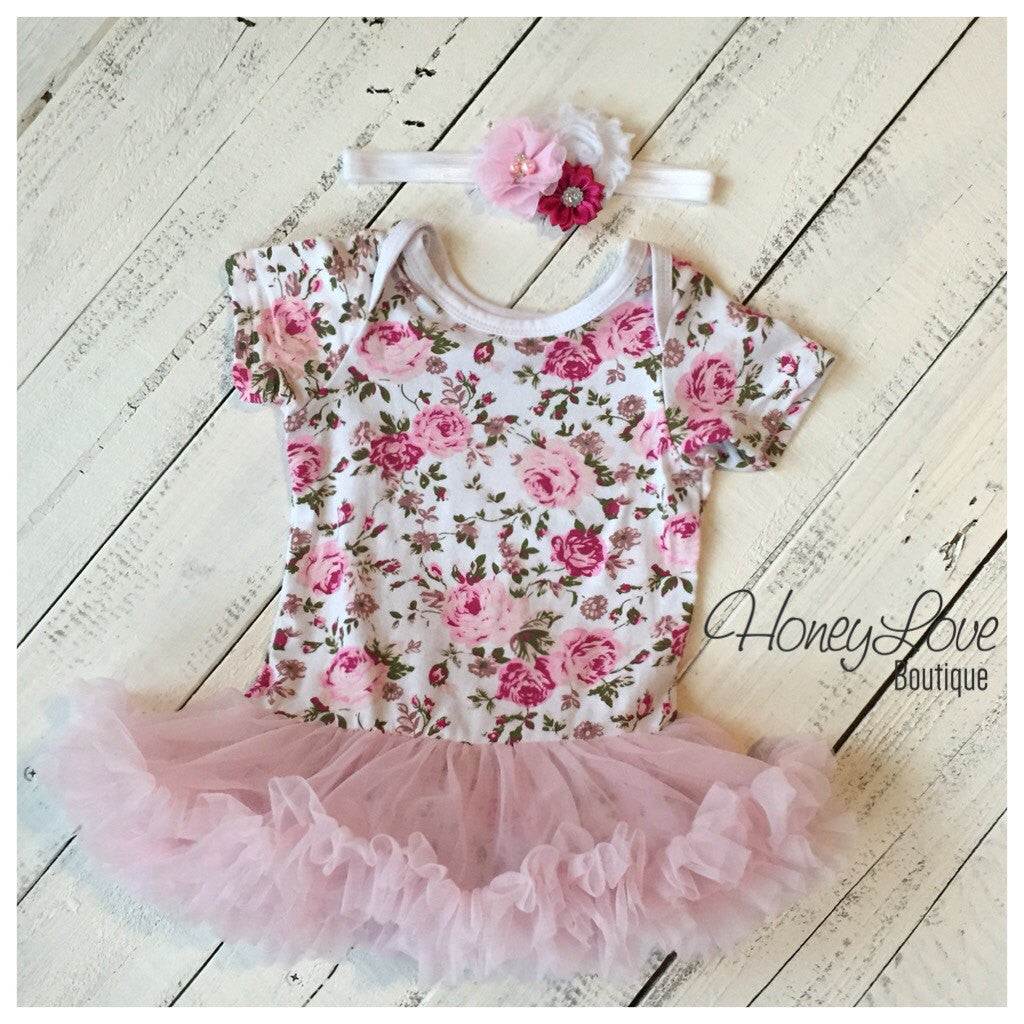 Floral Bodysuit Dress with pink tutu pettiskirt - matching rhinestone pearl headband - baby girls infant toddler - First Birthday outfit - HoneyLoveBoutique