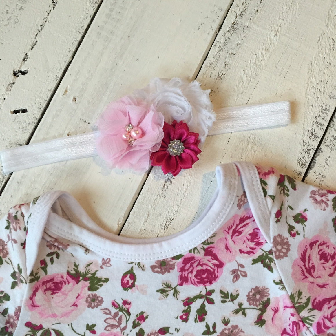 Floral Bodysuit Tutu Dress with matching headband