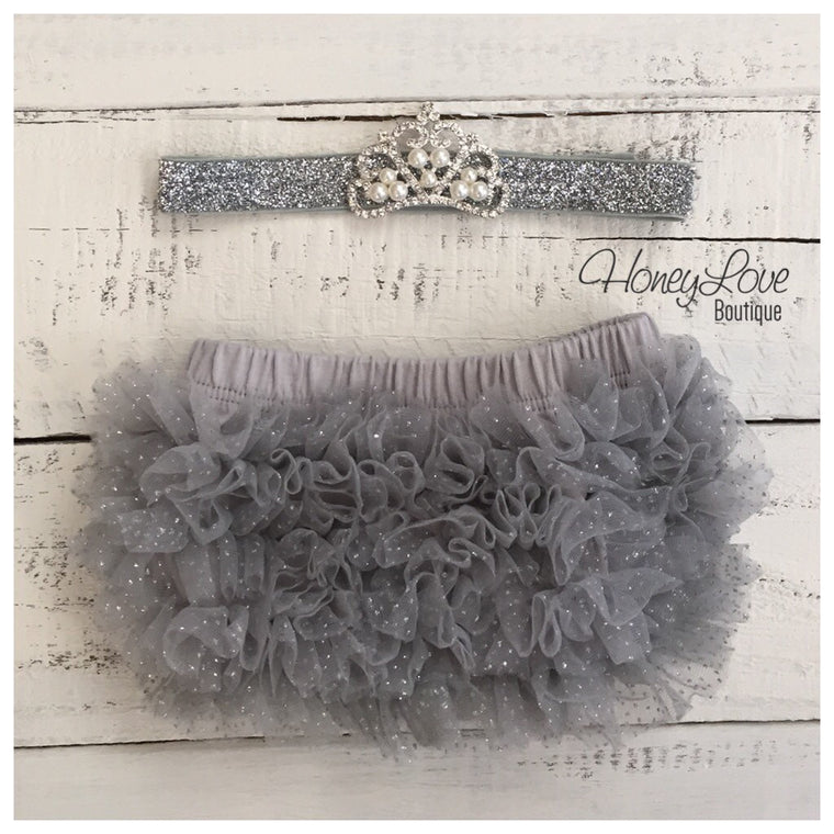Rhinestone & Pearl Tiara headband - silver glitter and gray ruffle bottom bloomers - HoneyLoveBoutique