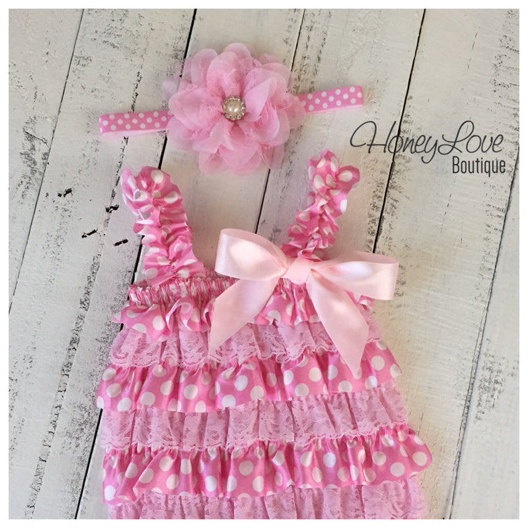 Satin & Lace Petti Romper - Light Pink and White Polka Dot - matching headband - HoneyLoveBoutique