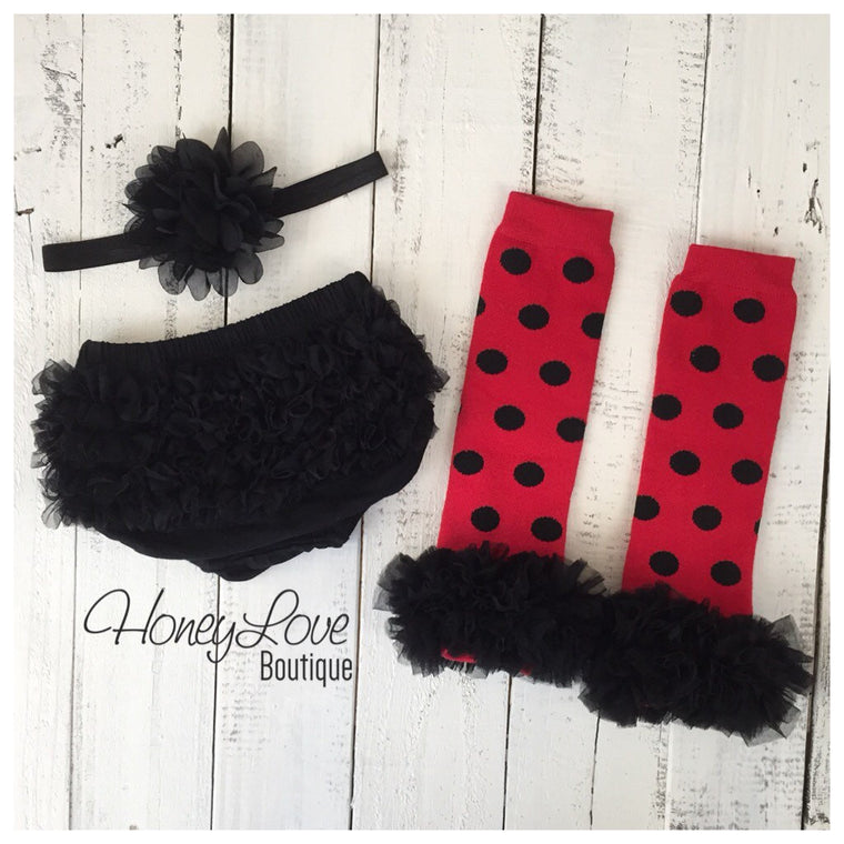 Red and Black Polka Dot leg warmers, black ruffle bottom bloomer, and black flower headband - HoneyLoveBoutique