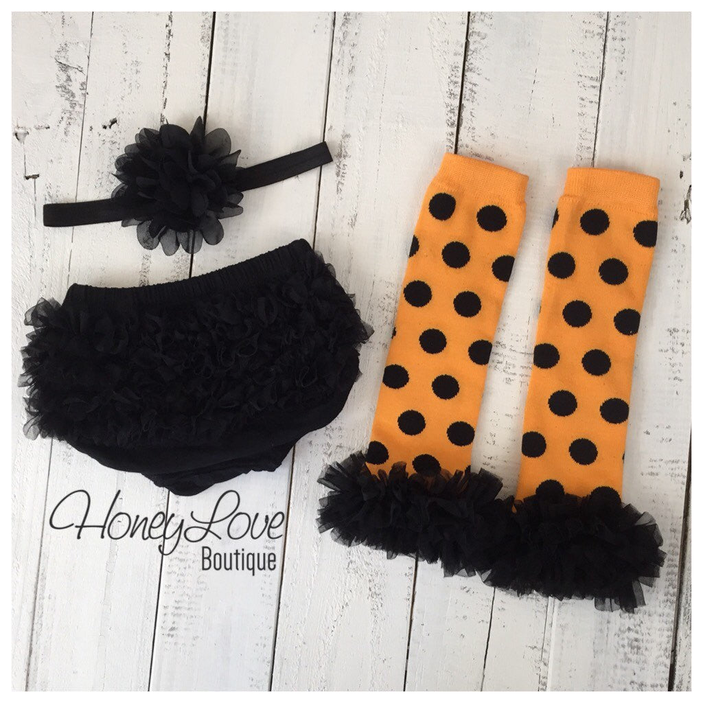 Halloween Outfit  - Orange black polka dot leg warmers, baby girl toddler stockings - black ruffle bloomer with matching flower headband SET - HoneyLoveBoutique