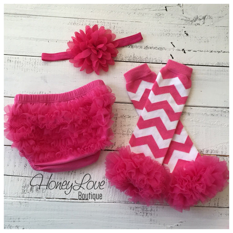 Hot Pink and White Chevron leg warmer, bloomer and headband set - HoneyLoveBoutique