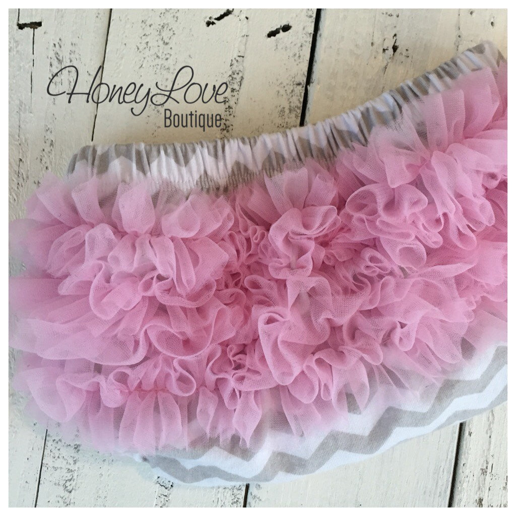 Bloomers - Grey White Chevron with Pink Chiffon Ruffles - HoneyLoveBoutique