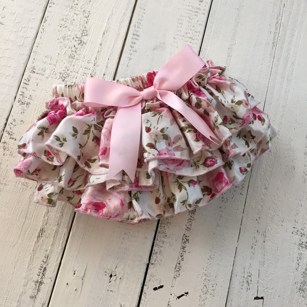Pink Floral Satin Bloomers Honeyloveboutique