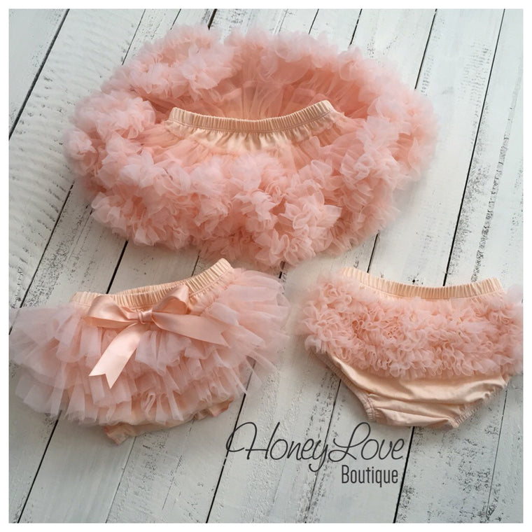 Peach - Pettiskirt - Tutu Skirt Bloomer - Ruffle Bottom Bloomer diaper cover - baby girl cake smash, birthday outfit, newborn photo prop - HoneyLoveBoutique
