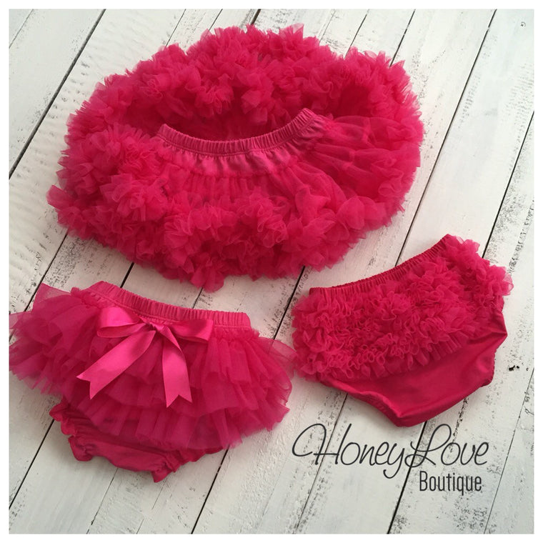 Watermelon Pink - Pettiskirt - Tutu Skirt - Ruffle Bottom Bloomer