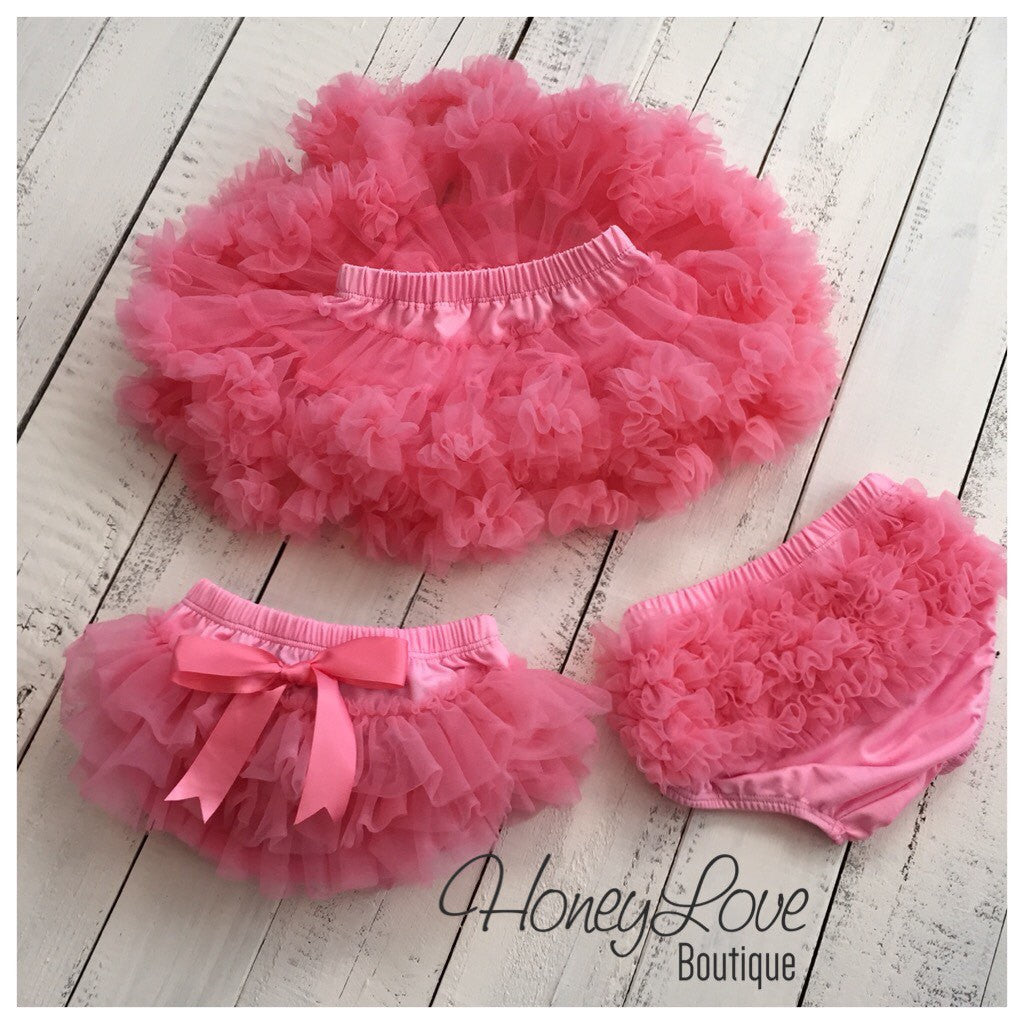 Coral Pink - Pettiskirt - Tutu Skirt Bloomer - Ruffle Bottom Bloomer