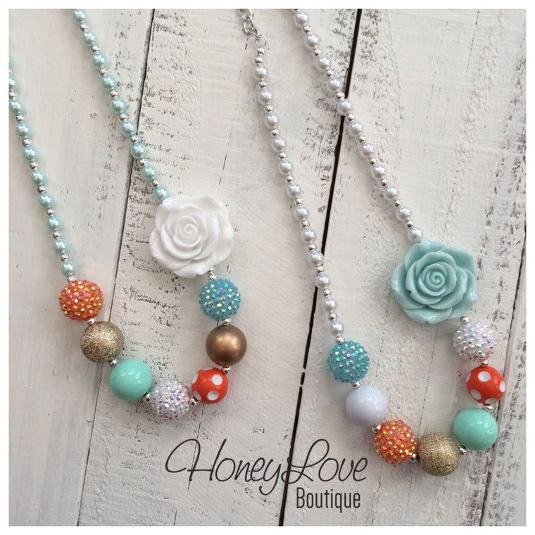 Chunky beaded necklace - Mint Aqua Blue White Orange Gold - HoneyLoveBoutique