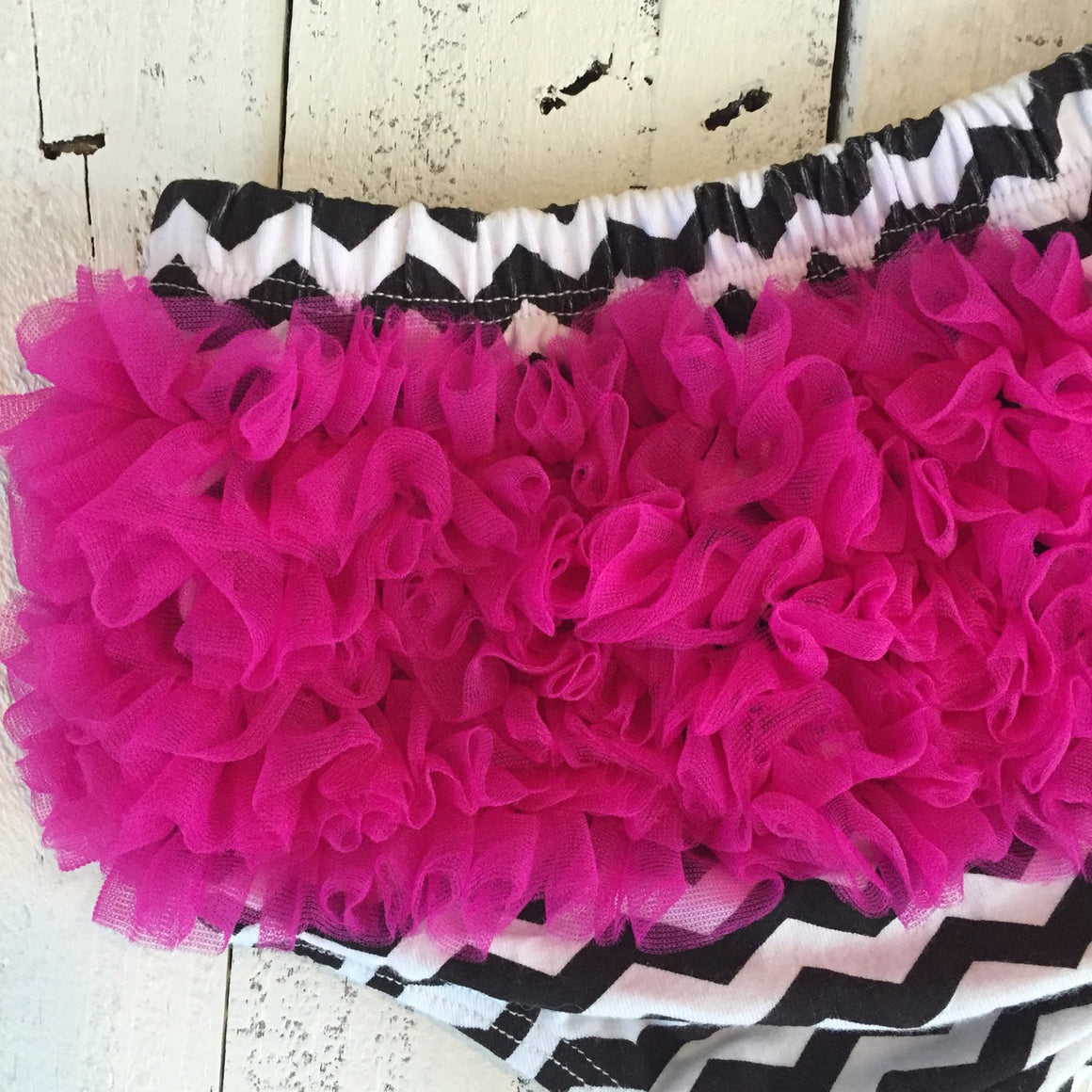 SALE! Bloomers - Black and White Chevron with Pink Chiffon Ruffles - HoneyLoveBoutique