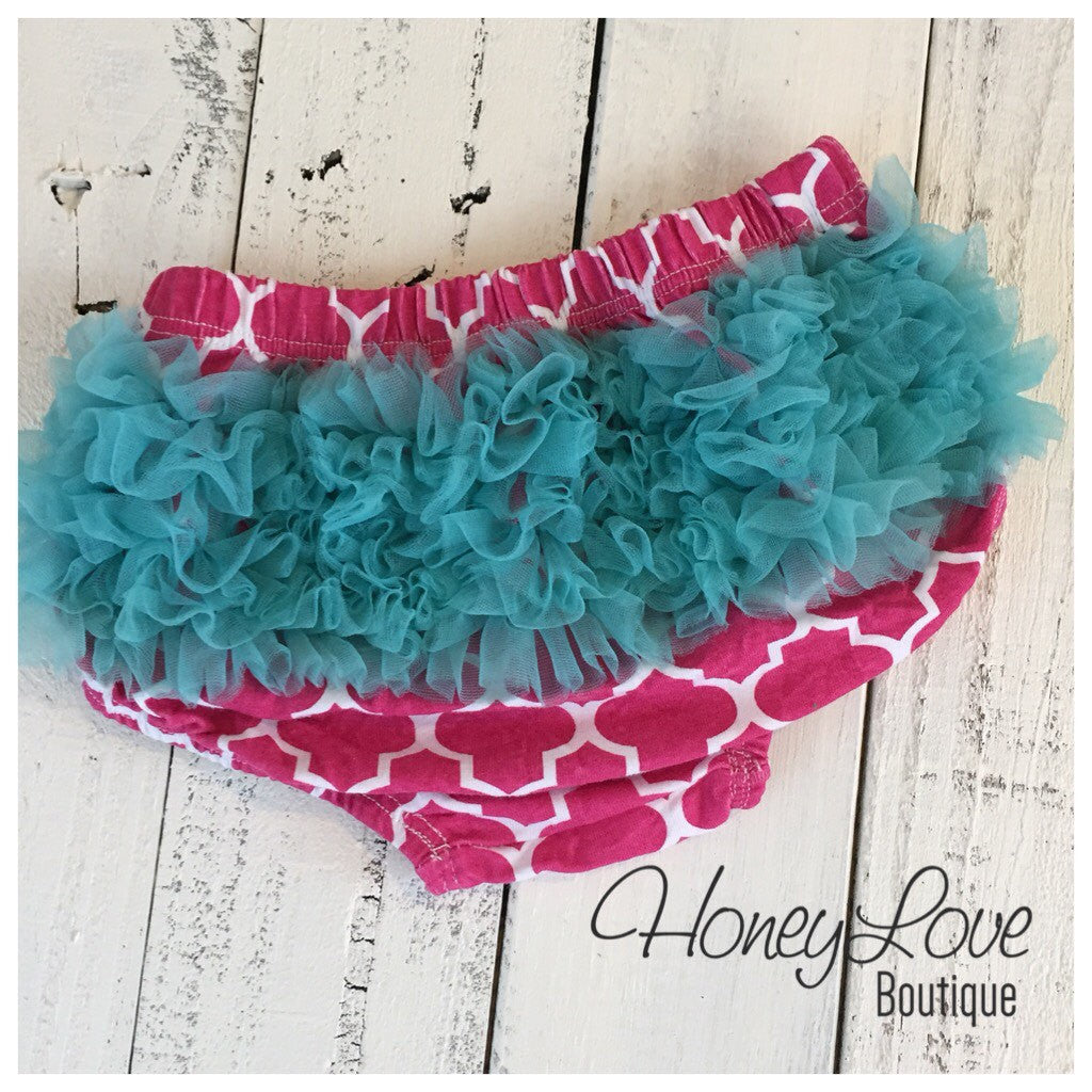 SALE! Bloomers  - Pink and White Quatrefoil with Teal Blue Ruffles - HoneyLoveBoutique