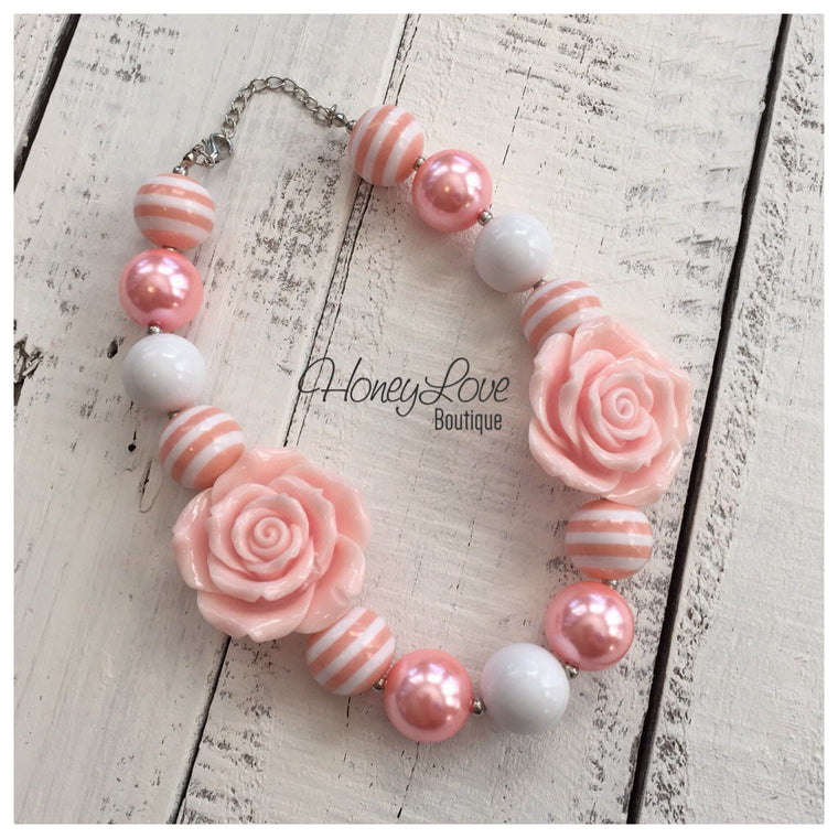 Peach and White - Flower Chunky Beaded Necklace - HoneyLoveBoutique