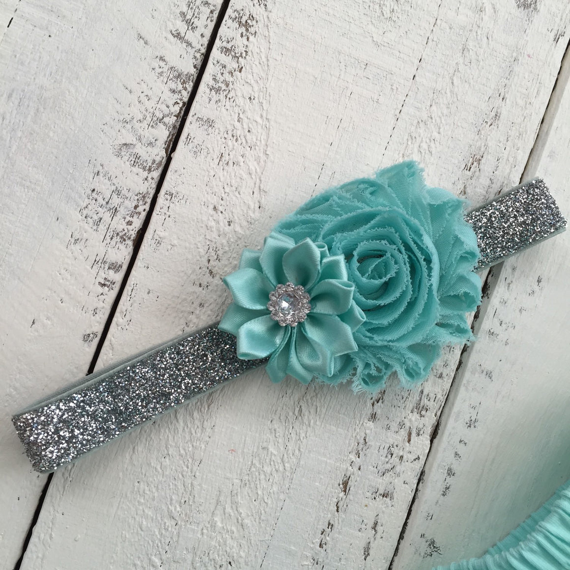 Mint/Aqua - Shabby Flower and Satin Flower Rhinestone Headband - HoneyLoveBoutique