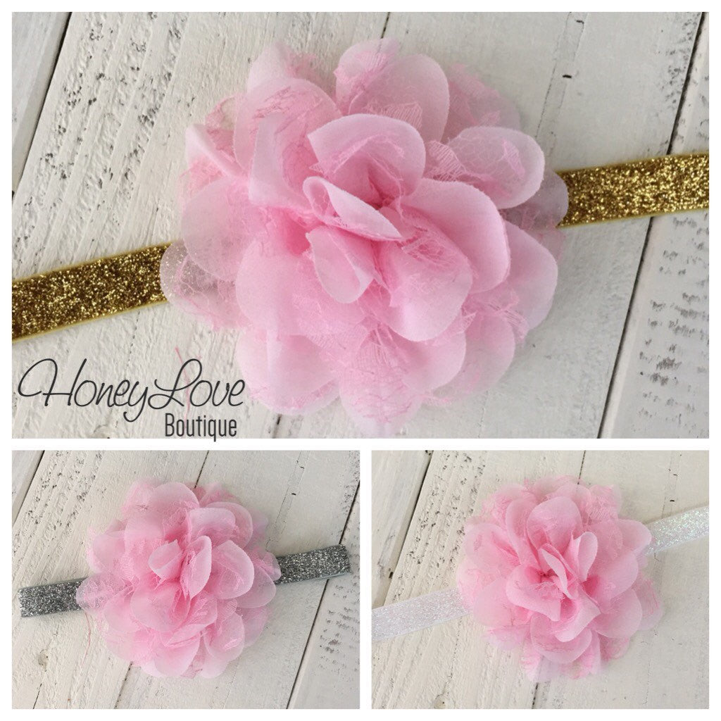 Choose! Gold, Silver White Glitter Elastic Headband - Pink Lace and Chiffon Layered Flower - Baby girls newborn infant toddler little girl - HoneyLoveBoutique