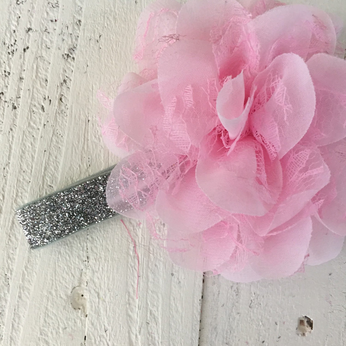 Pink Lace and Chiffon Layered Flower on Gold, Silver or White Glitter headband - HoneyLoveBoutique