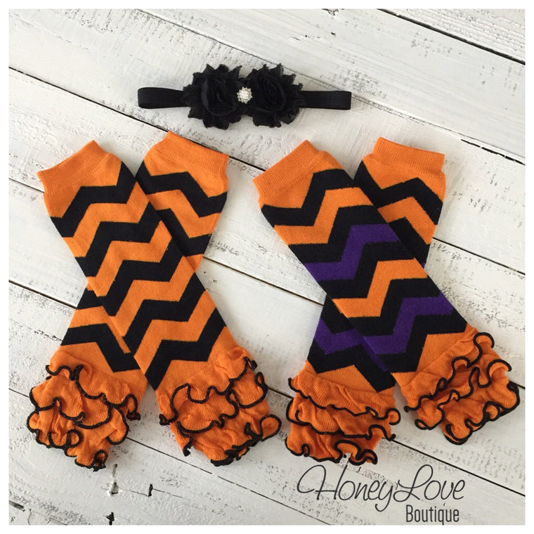 Halloween ruffle leg warmers and headband set - HoneyLoveBoutique