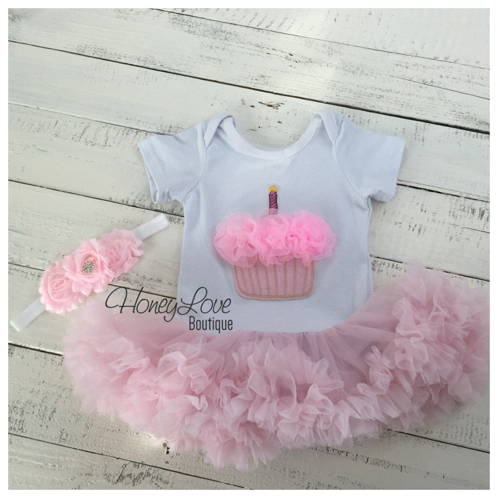 Cupcake Tutu Dress and matching rhinestone headband - Pink