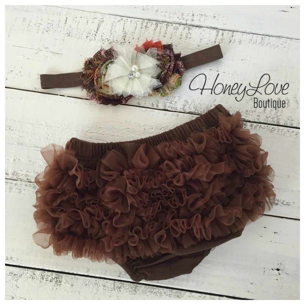 Brown ruffle bottom bloomer and headband