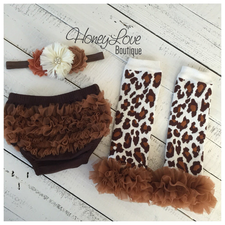 Brown ruffle bloomers diaper cover  - Leopard print ruffle bottom leg warmers - matching headband - HoneyLoveBoutique