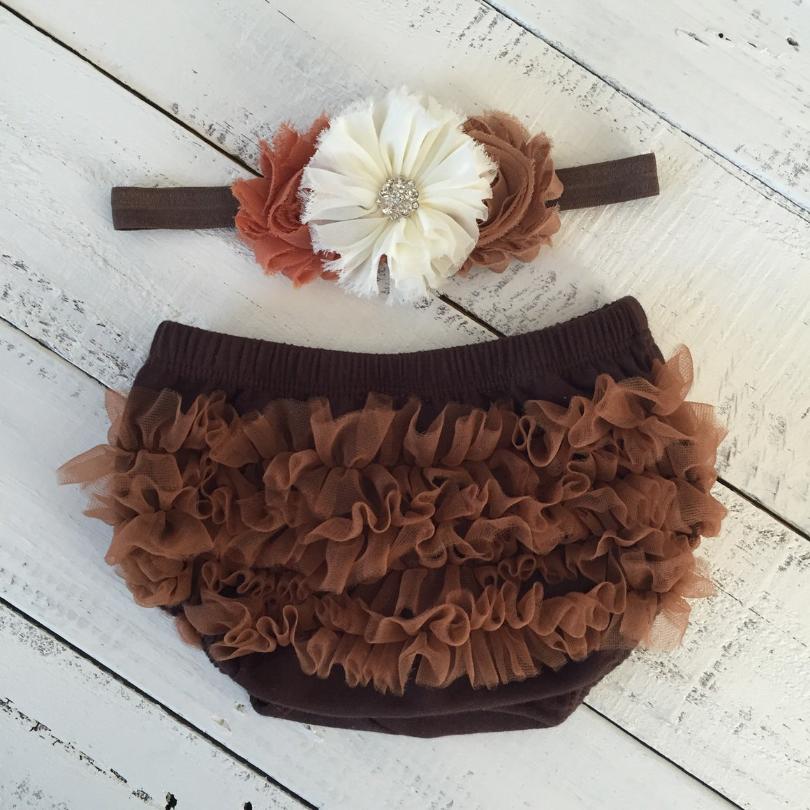 Brown ruffle bloomers diaper cover  - Leopard print ruffle bottom leg warmers - Fall headband ivory rhinestone - baby girl, toddler infant - HoneyLoveBoutique