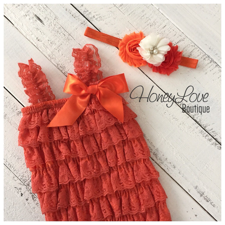 Lace Petti Romper - Embelished Orange romper and matching headband