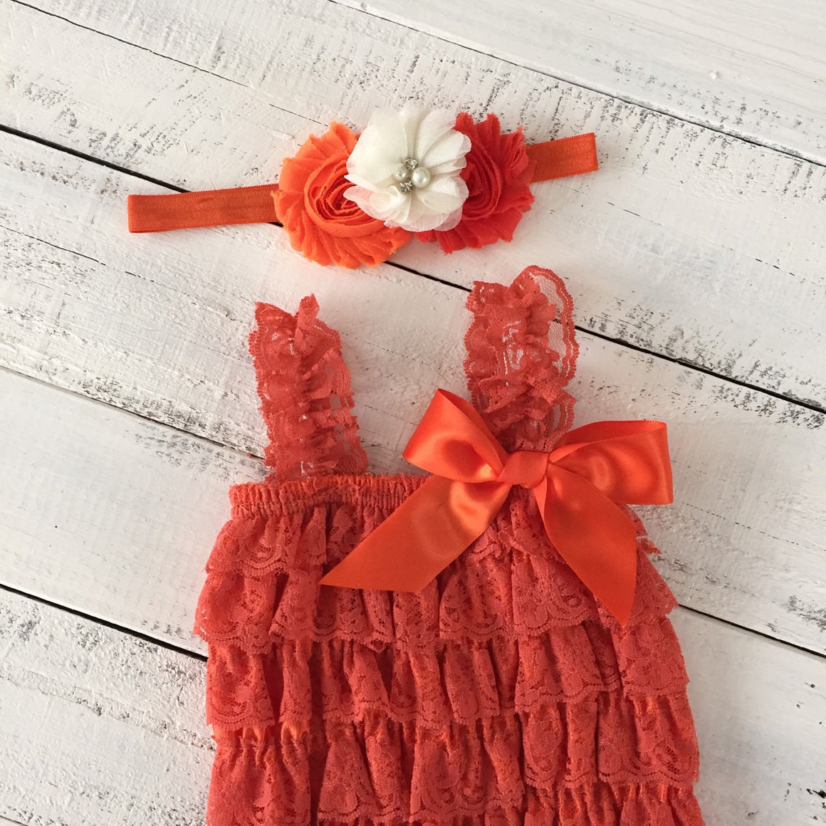 Lace Petti Romper - Embelished Orange romper and matching headband - HoneyLoveBoutique