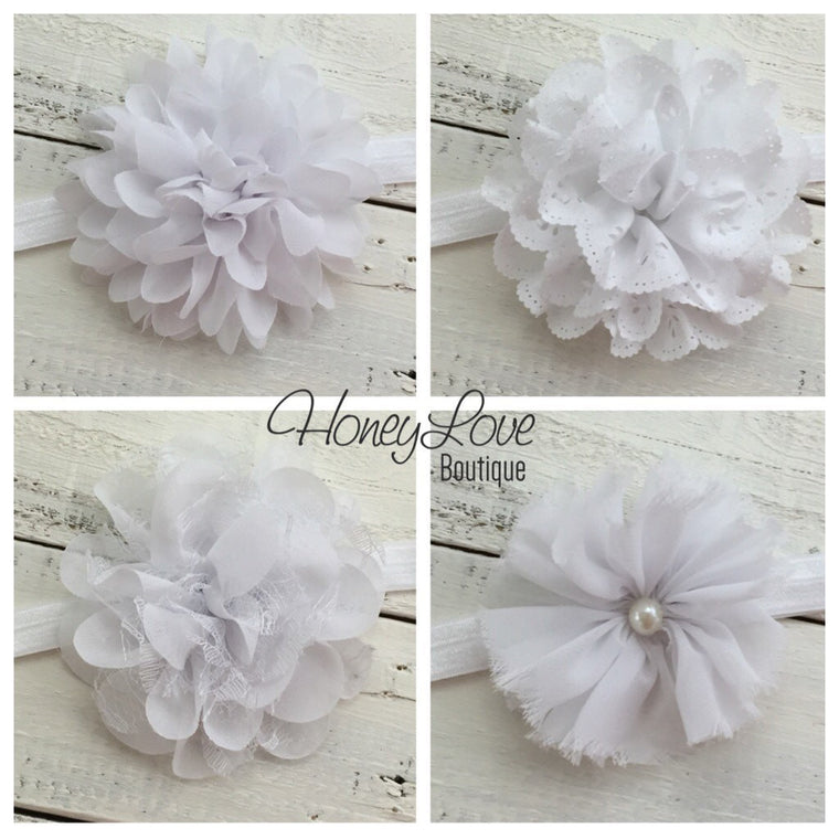 CHOOSE! White Elastic Headband, White Lace Fluffy Chiffon Layered Flower Shabby Pearl, Baby girls newborn infant toddler little girl Baptism - HoneyLoveBoutique