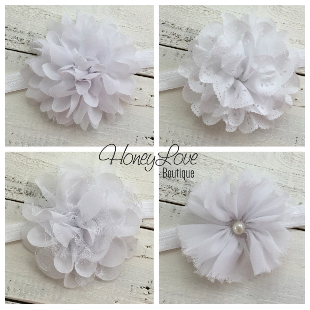 White Flower Headband Honeyloveboutique