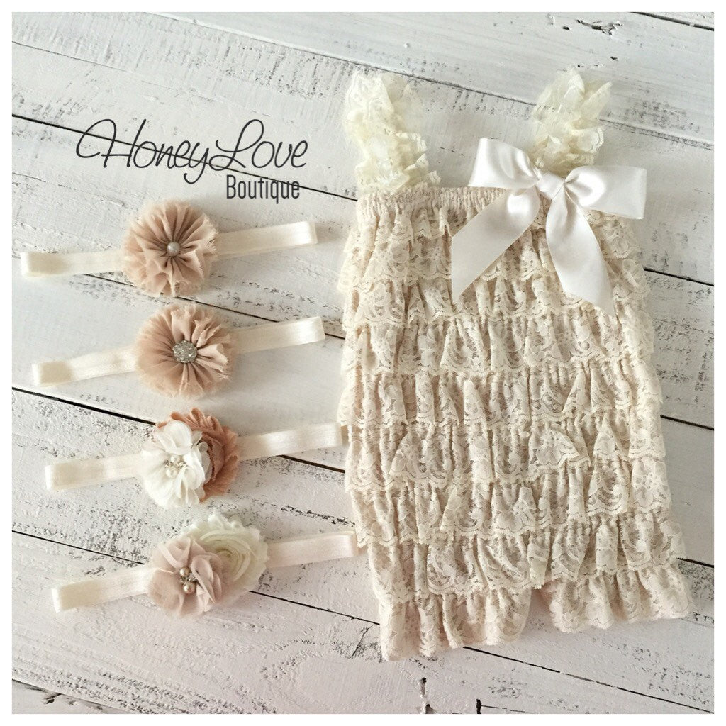 Lace Petti Romper - Champagne and matching flower headband - HoneyLoveBoutique
