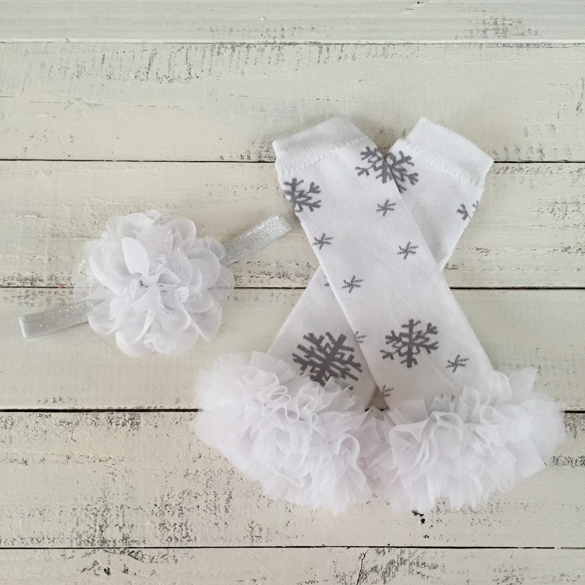 Snowflake Leg Warmers and matching headbands - HoneyLoveBoutique
