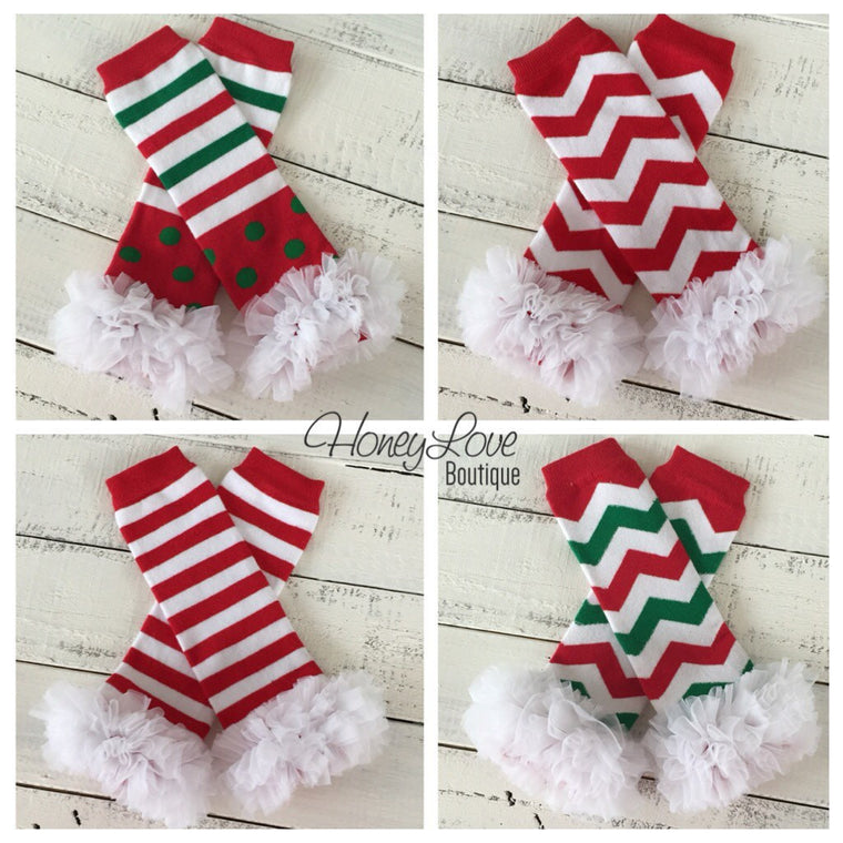 Leg Warmers - Christmas Red/White/Green with white ruffles - HoneyLoveBoutique